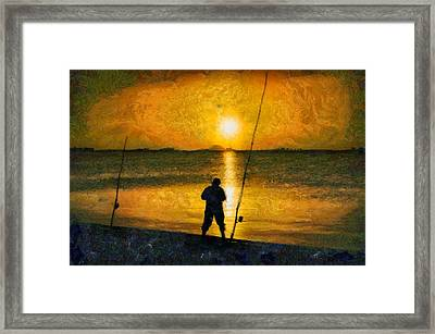 Framed Print featuring the photograph Beach Fishing  by Scott Carruthers