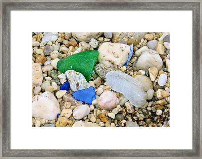 Framed Print featuring the photograph Beach Glass by Karen Silvestri