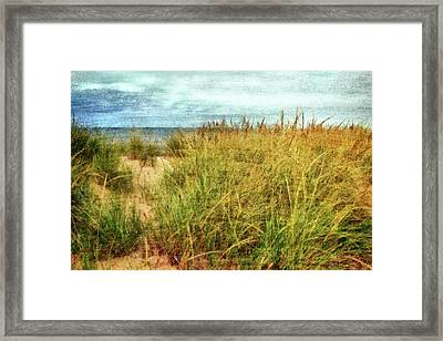 Framed Print featuring the digital art Beach Grass Path - Painterly by Michelle Calkins
