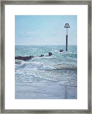 Framed Print featuring the painting Beach Groin With Autumn Waves by Martin Davey