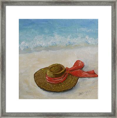 Beach Hat In The Sand Framed Print by Barbara Harper