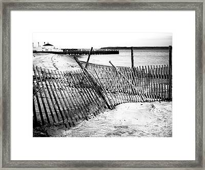 Framed Print featuring the photograph Beach Haven Dune Fence by John Rizzuto