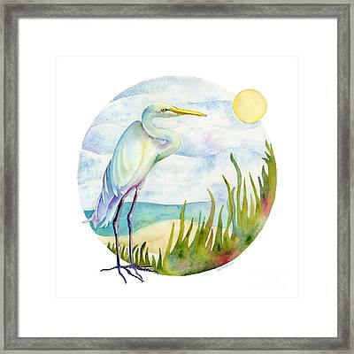 Beach Heron Framed Print by Amy Kirkpatrick