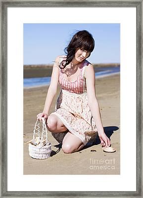 Beach Holiday Woman Framed Print by Jorgo Photography - Wall Art Gallery
