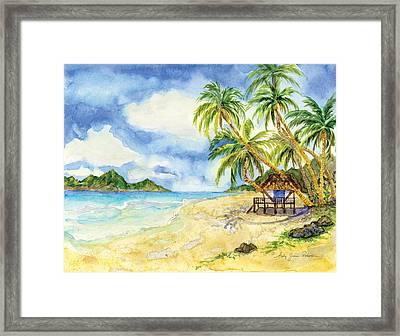 Beach House Cottage On A Caribbean Beach Framed Print