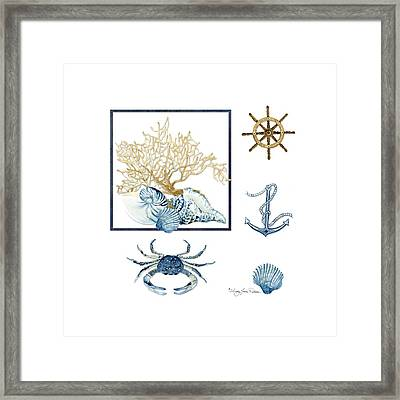 Beach House Nautical Seashells Ships Wheel Anchor N Crab Framed Print by Audrey Jeanne Roberts