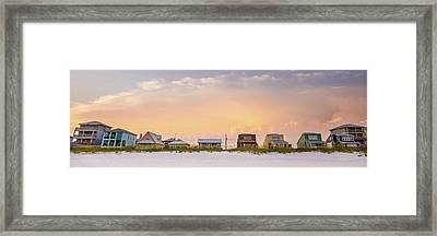 Beach House Sunset Framed Print