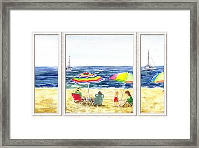 Beach House Window Framed Print