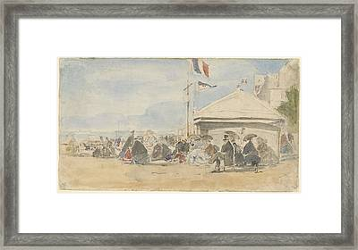 Beach House With Flags At Trouville Framed Print