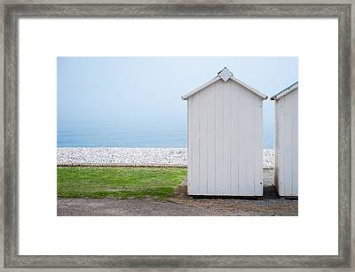 Beach Hut By The Sea Framed Print
