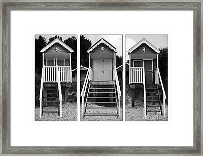 Beach Hut Triptych Framed Print by John Edwards