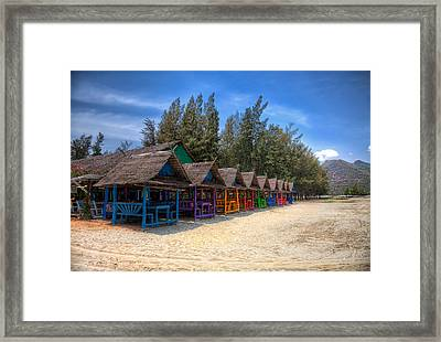 Beach Huts Framed Print by Adrian Evans
