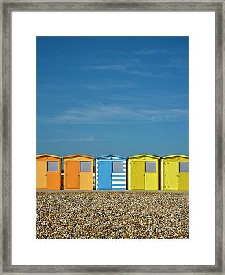 Beach Huts At Seaford Framed Print by Heiko Koehrer-Wagner