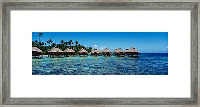 Beach Huts On Water, Bora Bora, French Framed Print by Panoramic Images