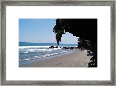 Beach In Bali Near The Tanah Lot Framed Print by Timea Mazug