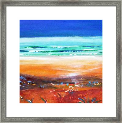 Framed Print featuring the painting Beach Joy by Winsome Gunning