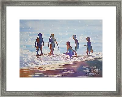 Beach Kids Framed Print by Deborah Ronglien