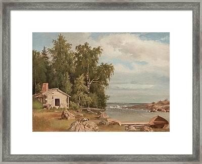 Beach Landscape From Lovo Framed Print by Magnus von Wright