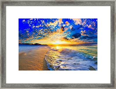 Framed Print featuring the photograph Beach Landscape Photography Golden Ocean Sunset by Eszra Tanner
