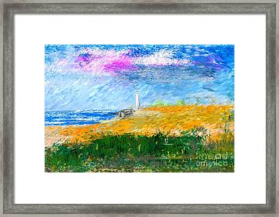 Beach Lighthouse Framed Print by David Lane