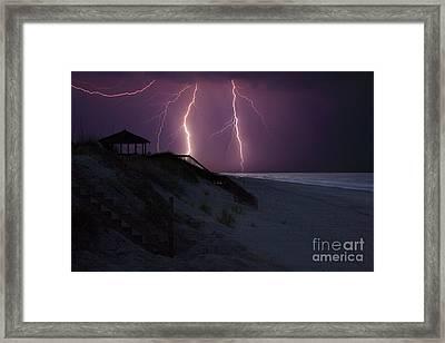 Beach Lighting Storm Framed Print