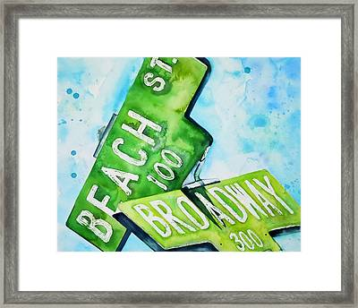 Beach N Broadwary Framed Print