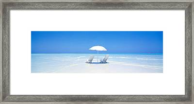 Beach, Ocean, Water, Parasol And Framed Print by Panoramic Images