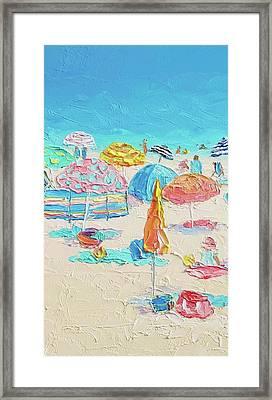 Beach Painting - A Crowded Beach Framed Print