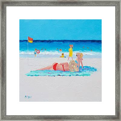 Beach Painting - A Lazy Day Framed Print by Jan Matson