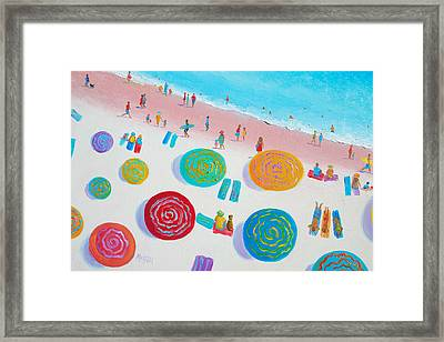 Beach Painting - A Walk In The Sun Framed Print by Jan Matson