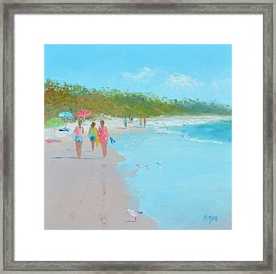 Beach Painting 'beach Strolling' By Jan Matson Framed Print by Jan Matson