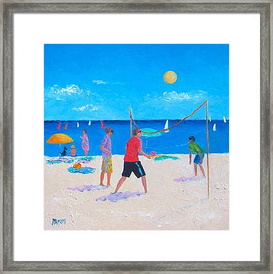 Beach Painting Beach Volleyball  By Jan Matson Framed Print