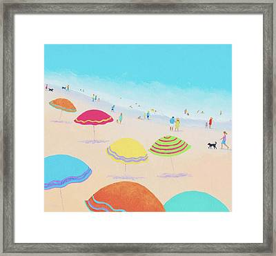 Beach Painting - Bright Sunny Day Framed Print by Jan Matson