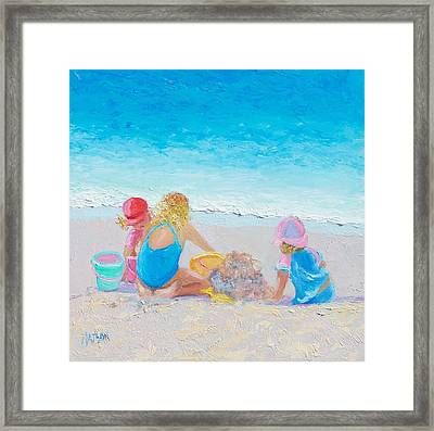 Beach Painting - Building Sandcastles Framed Print