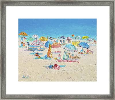 Beach Painting - Crowded Beach Framed Print by Jan Matson
