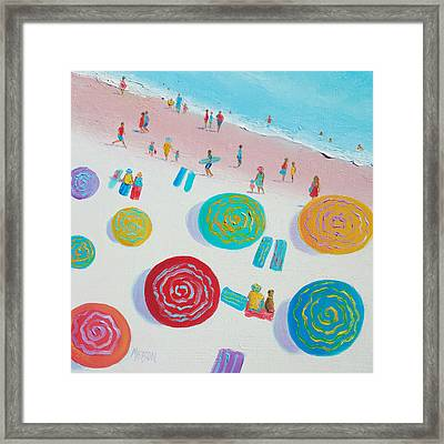 Beach Painting - First Day Of Summer Framed Print by Jan Matson