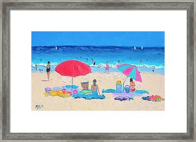 Beach Painting - Hot Summer Days Framed Print by Jan Matson