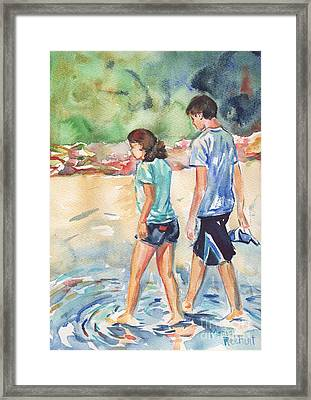 Beach Painting In Watercolor  No Shoes Required Framed Print by Maria's Watercolor