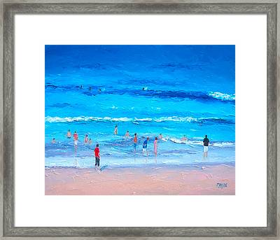 Beach Painting - Last Swim Of The Day Framed Print