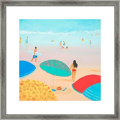 Beach Painting - Ocean Breeze Salty Hair Framed Print by Jan Matson