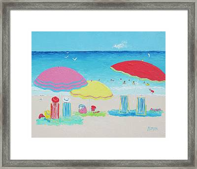 Beach Painting Summer Days Framed Print by Jan Matson