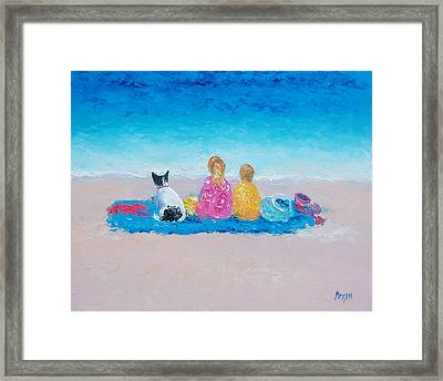 Beach Painting Sunday At The Beach Framed Print by Jan Matson