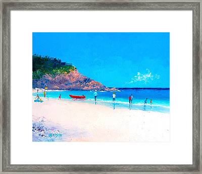 Beach Painting - The Rescue Boat Framed Print