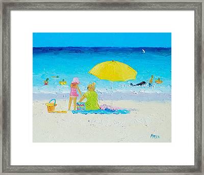 Beach Painting - Yellow Umbrella Framed Print by Jan Matson