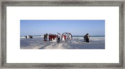 Beach Panoramic Wedding  Framed Print