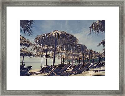 Beach Parasols Framed Print by Jelena Jovanovic