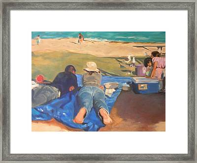 Beach Picnic Framed Print by Merle Keller