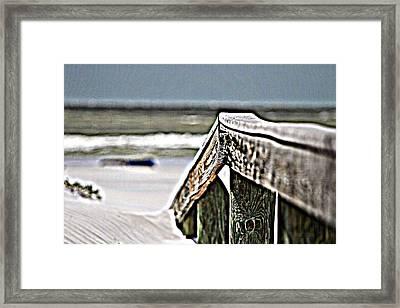 Beach Rail Framed Print