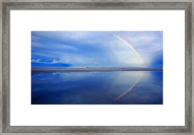 Beach Rainbow Reflection Framed Print