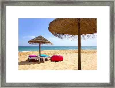 Beach Relaxing Framed Print by Carlos Caetano